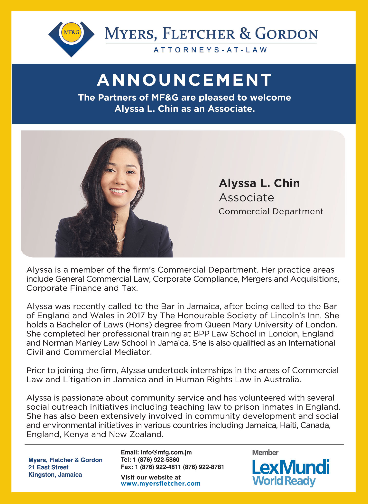 MFG Alyssa Associate Announcement web